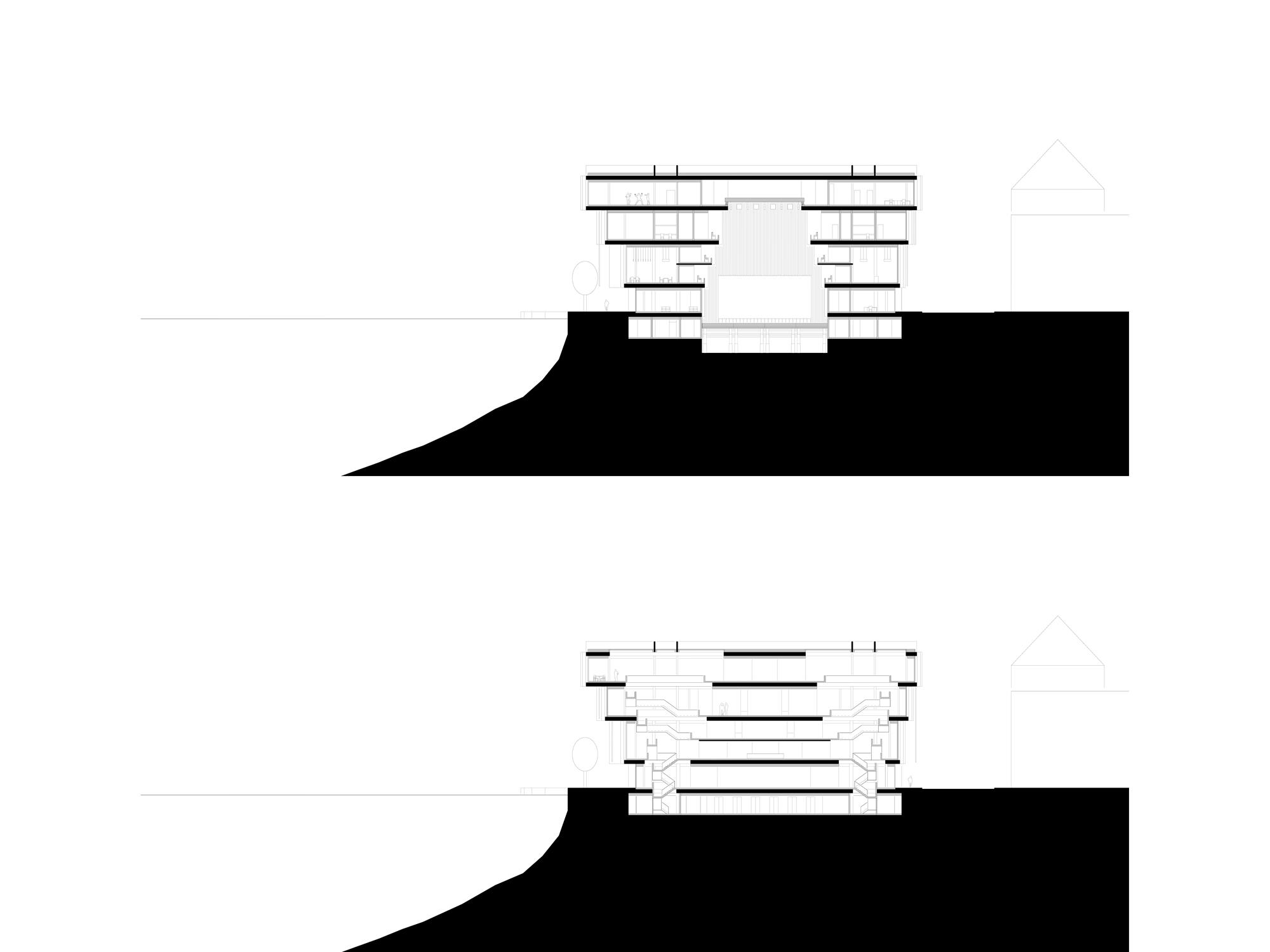 Querschnitt grosser Saal – Querschnitt Treppe